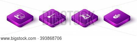 Set Isometric Cup Of Tea With Tea Bag, Hookah, Taxi Tuk Tuk And Hamsa Hand Icon. Vector