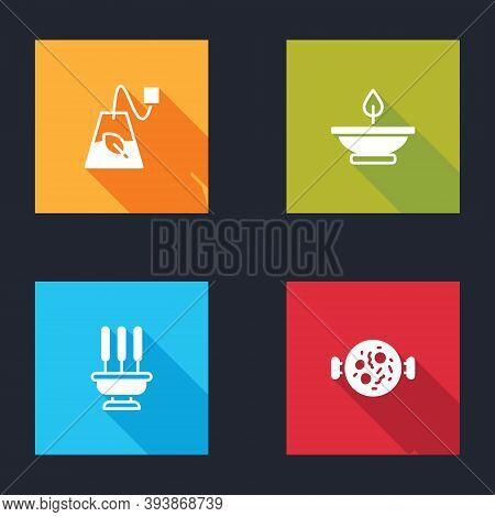 Set Tea Bag, Aroma Lamp, Incense Sticks And Chicken Tikka Masala Icon. Vector