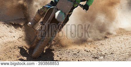 Motocross Racer Accelerating Speed In Track,driving In The Motocross Race