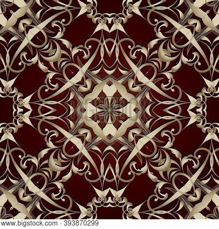 Floral Gold 3d Damask Vector Seamless Pattern. Ornamental Vintage Background. Line Art Tracery Old S
