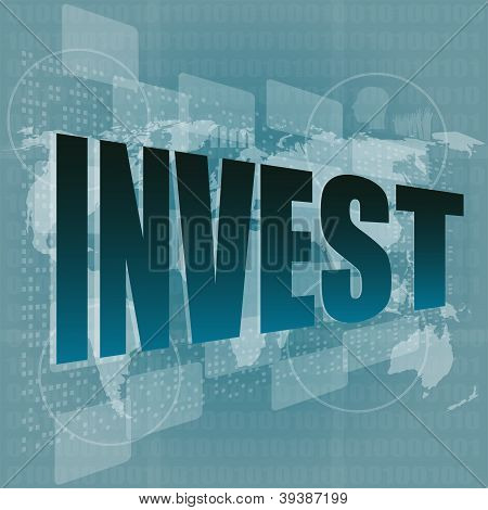 Pixeled Word Invest On Digital Screen - Business Concept