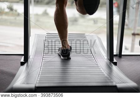 Unrecognizable Man Running Treadmill Gym Athlete Jogging Indoor Weight Loss Workout Jogger Run Gray