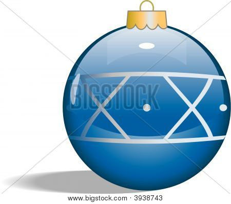 Vector Single Blue Glass Christmas Tree Ornament