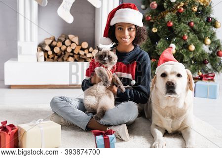 African American Girl, Labrador Dog And Cat Looking At Camera Near Gift Boxes And Christmas Tree On