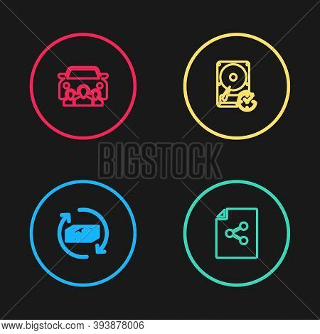 Set Line Refund Money, Share File, Hard Disk Drive With Clockwise And Car Sharing Icon. Vector