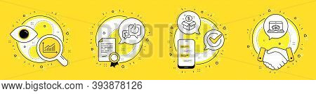 Graph, Post Package And Like Line Icons Set. Licence, Cell Phone And Deal Vector Icons. Online Deliv