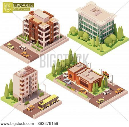 Vector Isometric Buildings And Street Elements Set. Houses, Homes Fast Food Restaurant. High-rise Bu