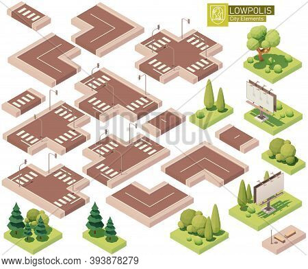 Vector Isometric City Street Parts. Roads, Crossroads, Lawn, Trees And Bushes. Isometric City Or Tow