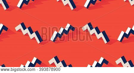 Seamless Pattern With Zigzag Or Steps Shape On Red Background In Modern Dotted Texture Style