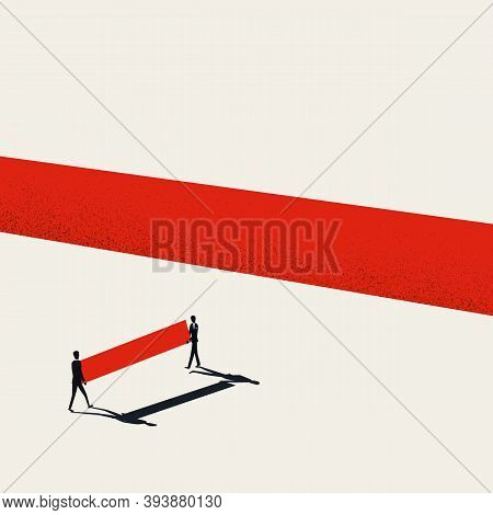 Business Teamwork And Team Building Concept Vector Template. Building Bridge Over Gap. Success And G