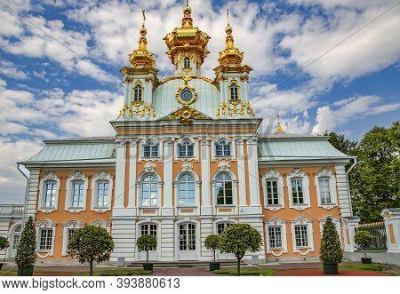 Russia, St.petersburg, Peterhof, July, 2016 - Home Church In Peterhof Big Palace On Blue Sky Backgro