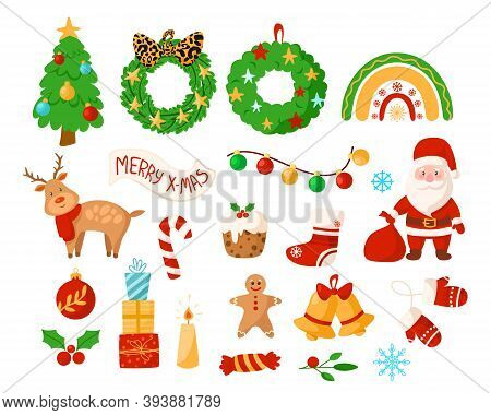 Christmas Kids Clipart - Santa Clause, Reindeer, Wreath, Bell, Sugar Candy Cane, New Year Decoration