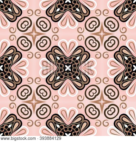 Floral Ethnic Seamless Pattern. Colorful Tribal Background. Flourich Bohemian Ornaments. Abstract Re