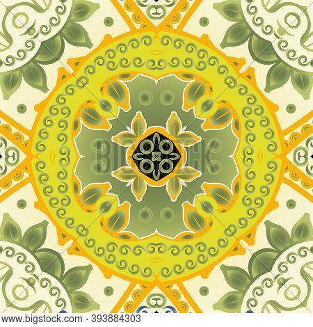 Floral Ethnic Seamless Pattern. Colorful Tribal Background. Doodle Drawing Ornaments. Abstract Repea