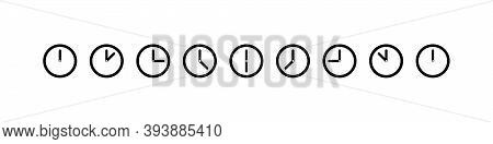 Time. Time With Clock. Clock Collection Vector Icons. Time And Clock Line Icons. Vector Illustration