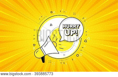 Hurry Up Sale. Yellow Vector Button With Megaphone. Special Offer Sign. Advertising Discounts Symbol
