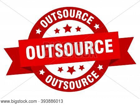 Outsource Round Ribbon Isolated Label. Outsource Sign