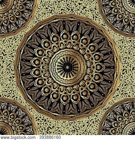 Floral Textured Gold Mandalas Vector Seamless Pattern. Tapestry Stippled Background. Decorative Embr