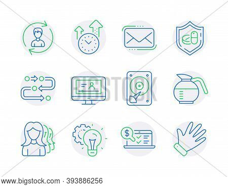 Business Icons Set. Included Icon As Online Accounting, Methodology, Medical Tablet Signs. Online Vi