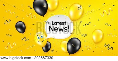 Latest News Symbol. Balloon Confetti Vector Background. Media Newspaper Sign. Daily Information. Bir