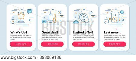 Set Of Business Icons, Such As Winner, Click Hand, Medical Vaccination Symbols. Mobile Screen Banner