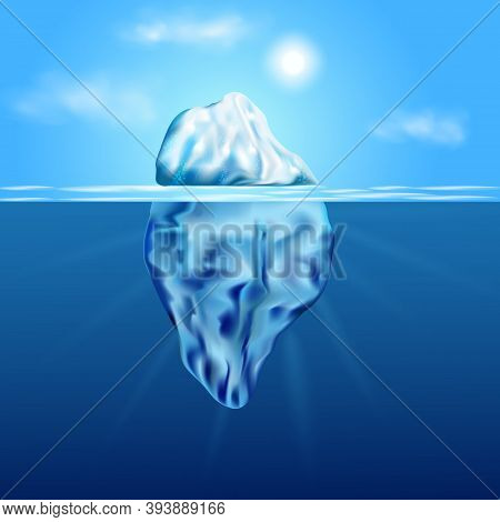 Iceberg Floating Among Ice Floes In The Blue Antarctic Sea.