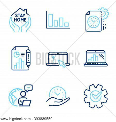 Science Icons Set. Included Icon As Swipe Up, Cogwheel, Report Document Signs. Safe Time, Graph Lapt