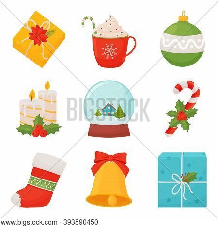 Set Of Christmas Symbols. Colorful Christmas Icons Vector Illustration Isolated On White Background