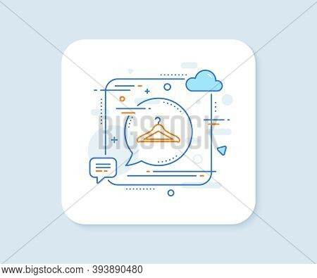 Cloakroom Line Icon. Abstract Square Vector Button. Hanger Wardrobe Sign. Clothes Service Symbol. Cl