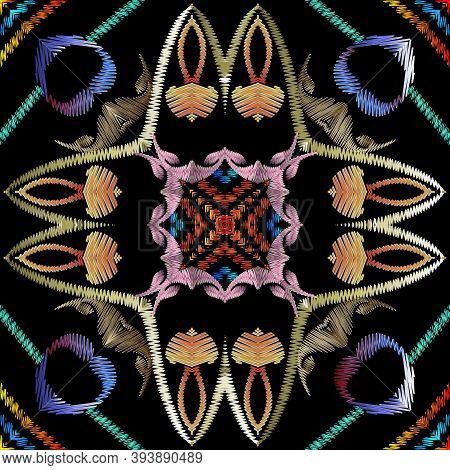 Geometric Textured Embroidery Seamless Pattern, Vector Abstract Shapes Tapestry Background. Colorful