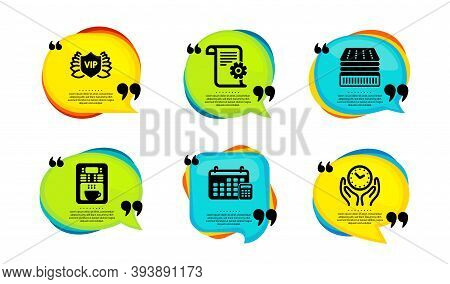 Calendar, Deluxe Mattress And Technical Documentation Icons Simple Set. Speech Bubble With Quotes. C