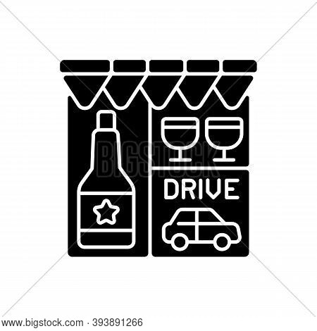 Drive Through Liquor Store Black Glyph Icon. Alcohol And Spirits. Alcoholic Drinks In Shop. Booze To