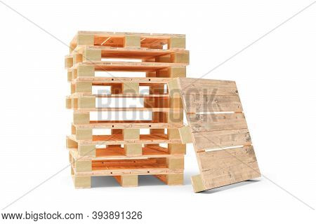 Stack Of Wooden Transport Or Freight Pallets With One Pallet Leaning Against It Over White Backgroun