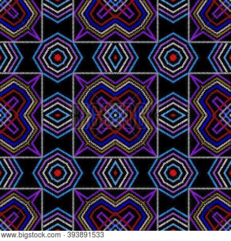 Textured Vector Seamless Pattern. Colorful Striped Background. Tapestry Abstract Shapes, Rhombus, Fr