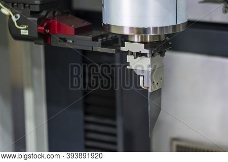 Close-up Scene Of Graphite Rib Electrode For Edm Process. The Hi-technology Mold And Die Manufacturi