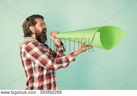 Civil Rights. Mass Media Concept. Make Voice Louder. Bearded Man Shout In Megaphone. Man With Paper