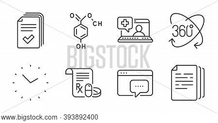 Seo Message, Handout And Medical Help Line Icons Set. Full Rotation, Chemical Formula And Medical Pr