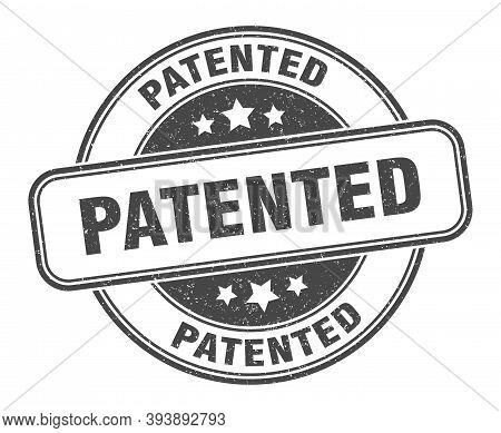 Patented Stamp. Patented Round Grunge Sign. Label