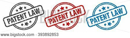 Patent Law Stamp. Patent Law Round Isolated Sign. Patent Law Label Set
