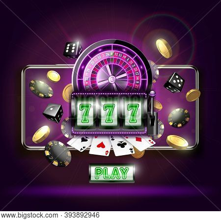 Realistic Detailed 3d Casino Online Concept Card Include Of Roulette, Coin, Chip And Dice. Vector Il