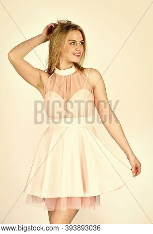Flirty Mode On. Clothes That Smile. Tender Woman In Cute Dress. Adorable Blonde. Pretty Girl. Fashio