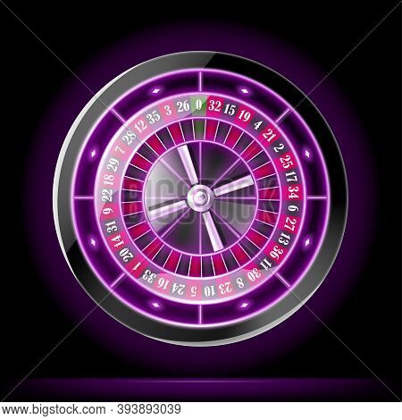 Realistic Detailed 3d Casino Gambling Roulette Top View Symbol Of Game. Vector Illustration Of Wheel