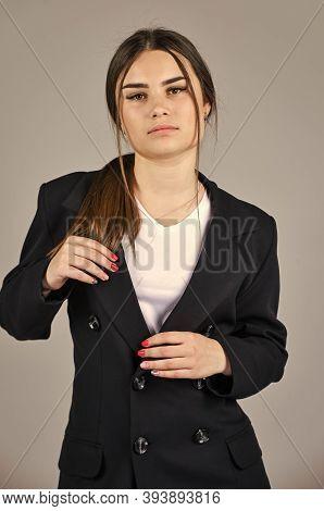 Businesswoman Wear Formal Suit. Hairdresser Beauty Salon. Cute Girl Has Long Hair. Female Autumn Fas