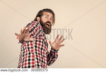 Be Horrified. Barbershop. Handsome Bearded Man In Casual Clothes Smiling. Cheerful Caucasian Man. Br