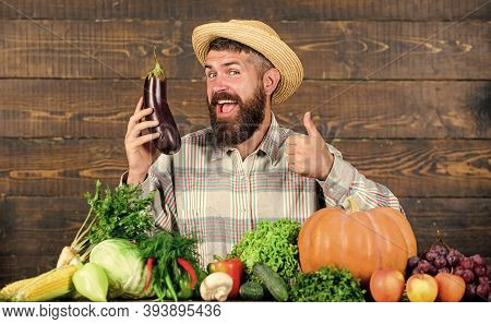 Man With Beard Wooden Background. Organic Horticulture Concept. Farmer With Organic Vegetables. Gard