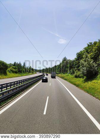 Bavaria, Germany - June 25, 2019: Highway Traffic. Modern Autobahn Road Germany Highway.