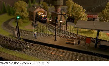 Retro Railway Station Model. Lokomotive On A Railroad.