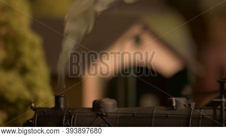 Retro Lokomotive Train And Steam. Miniature Railway Station Model.