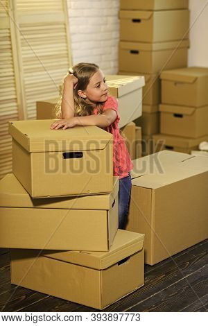 Stressful Situation. Divorce And Separation. Family Problem. Forced To Move. Girl Child And Boxes. M