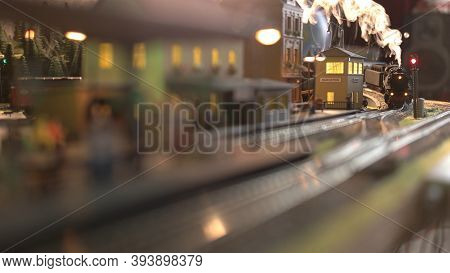 Lokomotive Model With Steam. Railway Station Model.